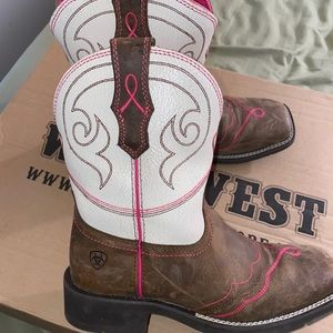 Ariat white and pink boots